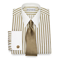 Edwardian Men's Shirts & Sweaters Non-Iron Cotton Stripe Dress Shirt $90.00 AT vintagedancer.com