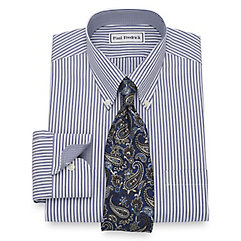 1930s Style Mens Shirts Slim Fit Non-Iron Cotton Stripe Dress Shirt $60.00 AT vintagedancer.com