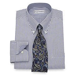 1930s Style Mens Shirts Slim Fit Non-Iron Cotton Stripe Dress Shirt $90.00 AT vintagedancer.com