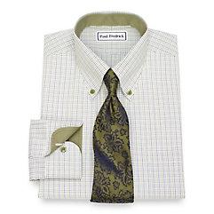 1930s Style Mens Shirts Non-Iron Cotton Tattersall Dress Shirt $90.00 AT vintagedancer.com