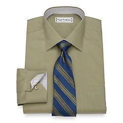 1940s Style Mens Shirts Slim Fit Non-Iron Cotton Pinpoint Oxford Dress Shirt $70.00 AT vintagedancer.com