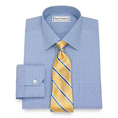 1940s Style Mens Shirts Non-Iron Cotton Plaid Dress Shirt $70.00 AT vintagedancer.com