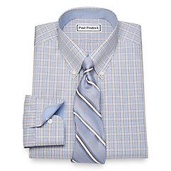 1930s Style Mens Shirts Non-Iron Cotton Glen Plaid Dress Shirt $40.00 AT vintagedancer.com