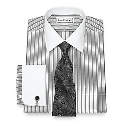 1920s Style Mens Shirts Non-Iron Cotton Stripe Dress Shirt $90.00 AT vintagedancer.com