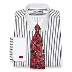 Edwardian Men's Shirts & Sweaters Non-Iron Cotton Twin Stripe Dress Shirt $50.00 AT vintagedancer.com