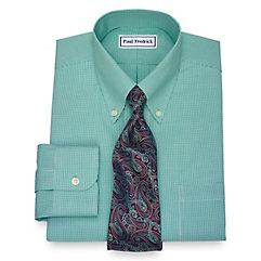 1950s Style Mens Shirts Non-Iron Cotton Gingham Dress Shirt $90.00 AT vintagedancer.com