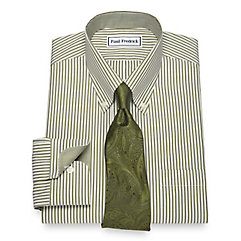 1930s Style Mens Shirts Non-Iron Cotton Bengal Stripe Dress Shirt $30.00 AT vintagedancer.com