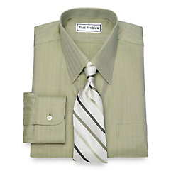 1940s Style Mens Shirts Non-Iron Cotton Herringbone Dress Shirt $50.00 AT vintagedancer.com