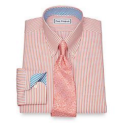 1940s Style Mens Shirts Non-Iron Cotton Bengal Stripe Dress Shirt $30.00 AT vintagedancer.com