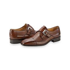 Italian Leather Cap Toe Monk Strap Shoe