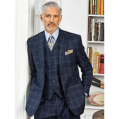 1920s Mens Suits Wool Flannel Windowpane Sport Coat $280.00 AT vintagedancer.com