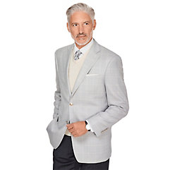 1930s Style Mens Suits Pearl Grey Windowpane Wool  Silk Sport Coat $210.00 AT vintagedancer.com