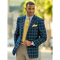 1950s Style Mens Suits Super 100s Wool Windowpane Two Button Notch Lapel Sport Coat $189.00 AT vintagedancer.com