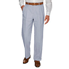 Men's Vintage Style Pants, Trousers, Jeans, Overalls Navy Stripe Cotton Seersucker Pleated Suit Pant $45.00 AT vintagedancer.com