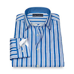 Edwardian Men's Shirts & Sweaters Slim Fit Cotton Stripe Sport Shirt $35.00 AT vintagedancer.com