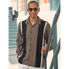 1950s Style Mens Shirts Silk Panel Sport Shirt $80.00 AT vintagedancer.com