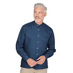 1920s Style Mens Shirts Slim Fit Linen Band Collar Sport Shirt $30.00 AT vintagedancer.com