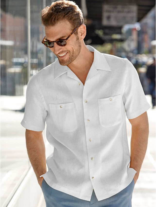 1930s Style Mens Shirts Slim Fit Linen Camp Collar Sport Shirt $20.00 AT vintagedancer.com