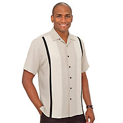 1950s Style Mens Shirts Silk Panel Sport Shirt $70.00 AT vintagedancer.com