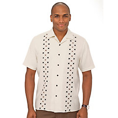 1950s Style Mens Shirts Silk Embroidered Sport Shirt $70.00 AT vintagedancer.com