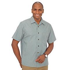 1950s Style Mens Shirts Cotton Stripe Sport Shirt $45.00 AT vintagedancer.com