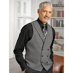 Men's Vintage Inspired Vests Wool Double Breasted Vest $130.00 AT vintagedancer.com