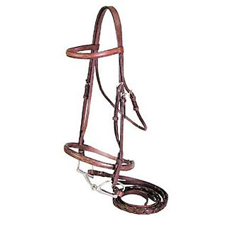 Economy Raised Snaffle Bridle with Reins