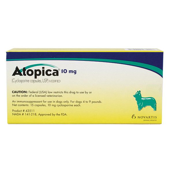 Atopica Capsules for Dogs 10mg 1 Count
