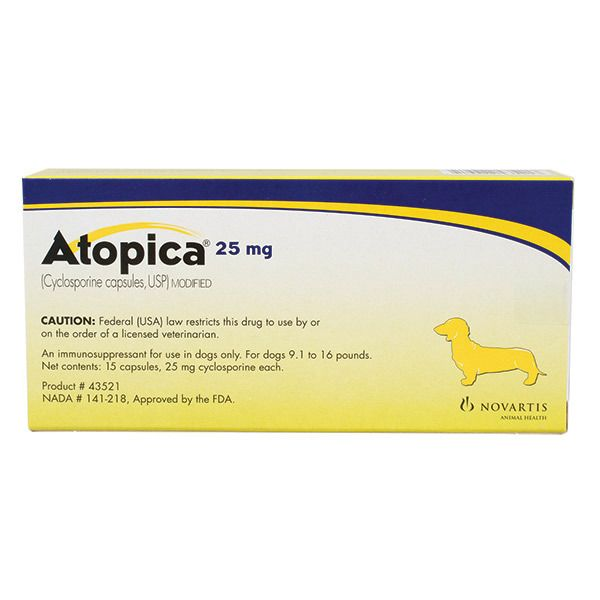 Atopica Capsules for Dogs 25mg 1 Count