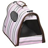 Pet Life Folding Cage Striped Pet Carrier
