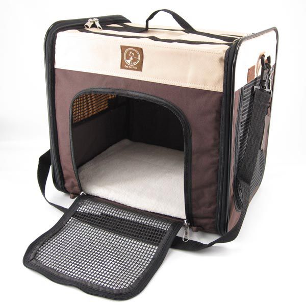 One for Pets Folding Carrier-The Cube Cream-Brown