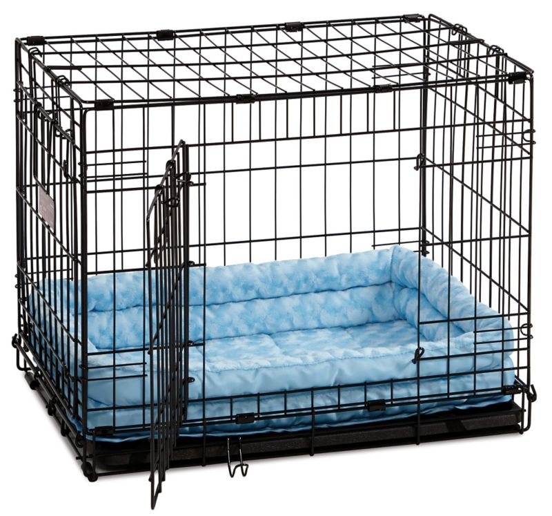 Quiet Time Deluxe Double Bolster Pet Bed Blue 30in