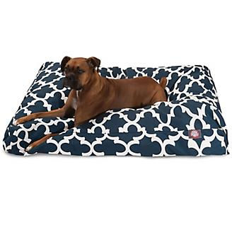 Majestic Outdoor Navy Trellis Rectangle Pet Bed