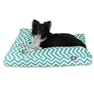 Majestic Outdoor Teal Chevron Rectangle Pet Bed