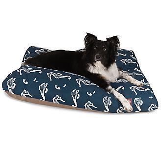 Outdoor Navy Sea Horse Rectangle Pet Bed