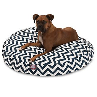 Majestic Pet Outdoor Navy Chevron Round Pet Bed