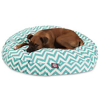 Majestic Pet Outdoor Teal Chevron Round Pet Bed