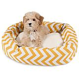 Majestic Pet Yellow Chevron Sherpa Bagel Bed