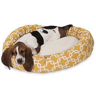 Majestic Pet Yellow Links Sherpa Bagel Bed