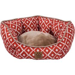 snoozzy ikat ease orange clamshell dog bed - 1800petsupplies