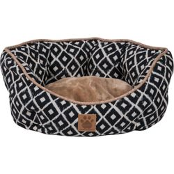 snoozzy ikat ease navy clamshell dog bed - dog