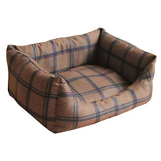 Pet Life Water Resistant Brown Plaid Dog Bed