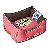 Touchdog Vintage Flamingo Pink Bolster Dog Bed