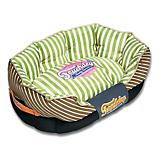 Touchdog Neutral Striped Green/Brown Dog Bed