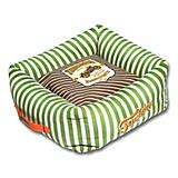 Touchdog Striped Green/Brown Square Dog Bed