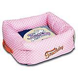 Touchdog Polka Striped Pink/Blue Square Dog Bed