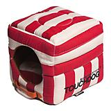 Touchdog Striped 2in1 Red/White Dog House Bed