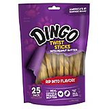 Dingo Peanut Butter Rawhide Twist Sticks 25pk