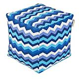 Jax and Bones Wave Azure Outdoor Pouf Ottoman