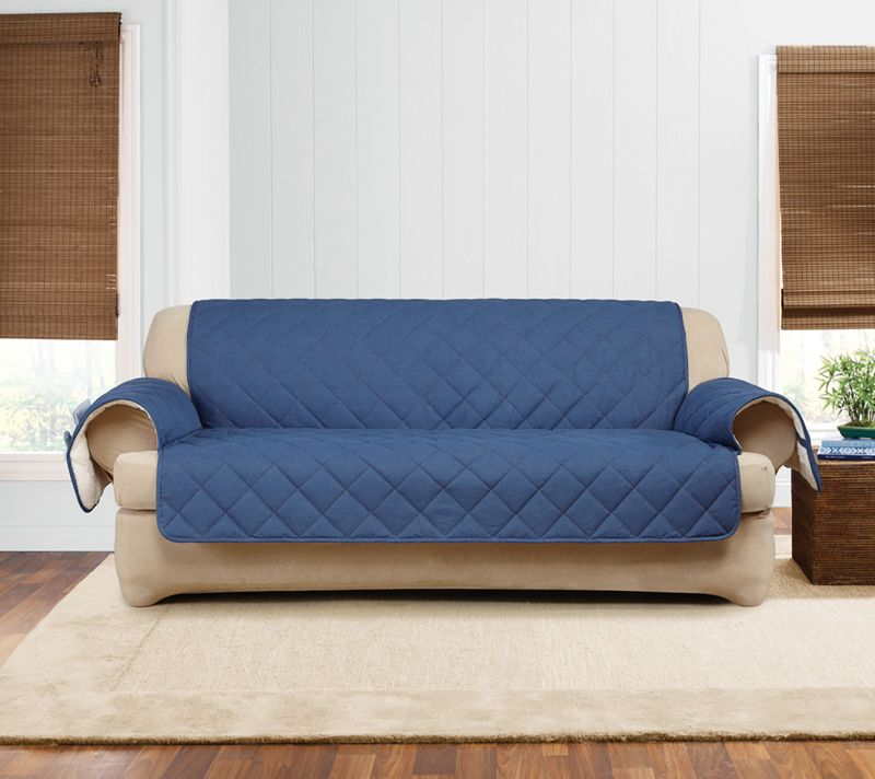 Sure Fit Quilted Denim Sofa Slipcover   Dog.com